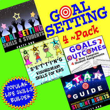 GOAL SETTING 4-Pack >  = *Activities *Printables *Handouts *Templates + *ViDEO!