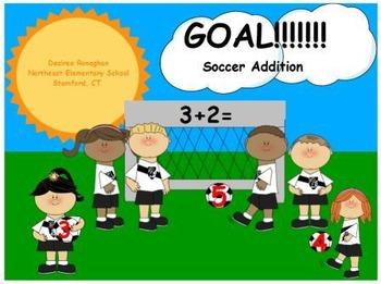 GOAL!!!!!! Soccer Addition Math Center (K.OA.5)