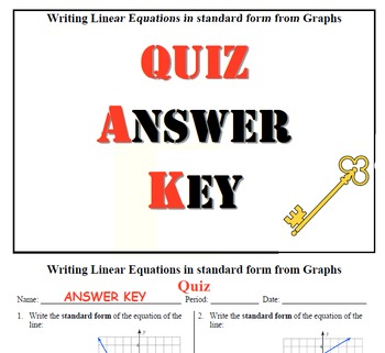 GOAL - Writing Linear Equations in Standard Form from graphs & Quiz (QR Code)