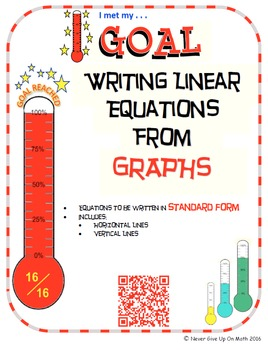 GOAL - Writing Linear Equations in Standard Form from grap