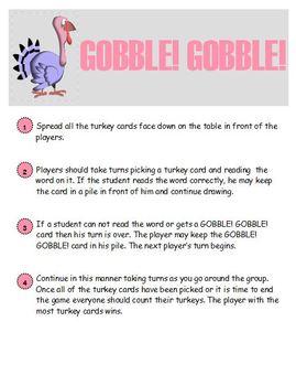 GOBBLE! GOBBLE! Thanksgiving Phonics Game Activity CVC CCVC CVCe