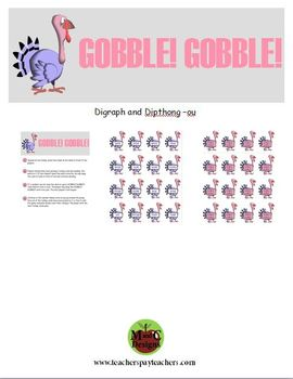 GOBBLE! GOBBLE! Thanksgiving Phonics Game Activity Digraph and Dipthong -ou