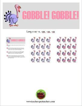 GOBBLE! GOBBLE! Thanksgiving Phonics Game Activity Long o as -o, -ow, oe, -oa