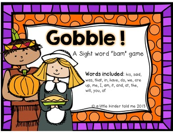 GOBBLE! a Bam sight word game