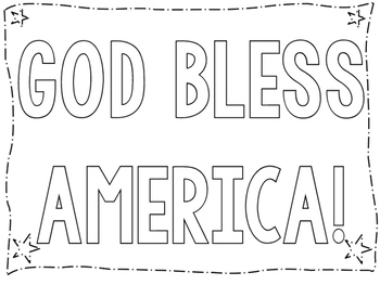 GOD BLESS AMERICA! COLORING POSTER