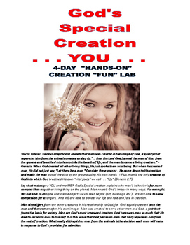 """GOD'S SPECIAL CREATION . . . YOU!    18-PAGES . . . 5-DAYS  Hands-on """"FUN"""" Lab"""