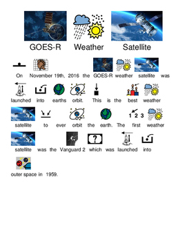 GOES-R Weather Satellite Launched - Picture supported text lesson questions