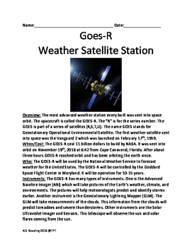 GOES-R Weather Satellite - informational lesson article fa