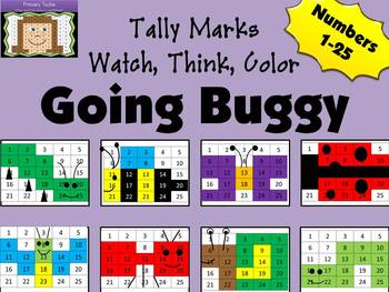 GOING BUGGY Beginning Watch, Think, Color - Tally Marks Bundle Mystery Pictures