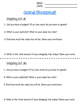 GOING SHOPPING - finding sales tax and total cost - 7.RP.3