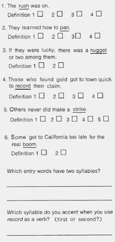 History GOLD RUSH Info Definitions Multiple Meaning Words Use Dictionary Entries