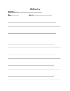 GOLD data collection form