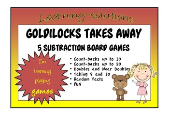 NUMBER FACTS - GOLDILOCKS TAKES AWAY - 5 Board Games to teach subtraction facts