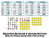 BEHAVIOR MATCH & SORT ACTIVITY w PECS autism speech therap