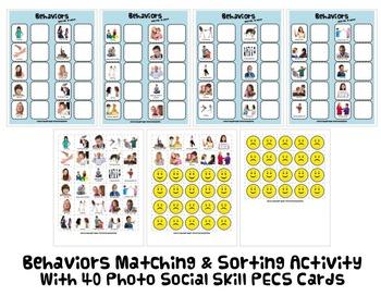BEHAVIOR MATCH & SORT ACTIVITY w PECS autism speech therap