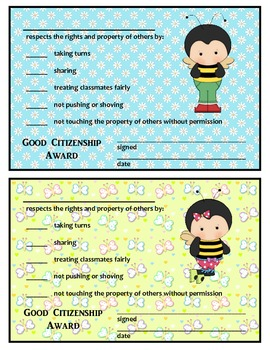 GOOD CITIZENSHIP AWARDS - BUZZY BEE THEME