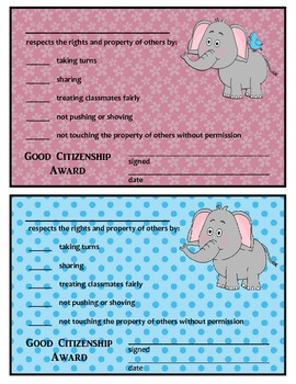GOOD CITIZENSHIP AWARDS - ELEPHANT THEME - Freebies