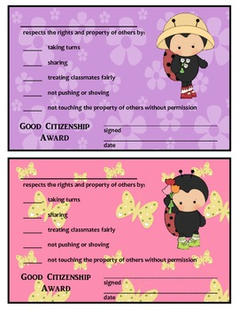 GOOD CITIZENSHIP AWARDS - LADYBUG THEME