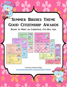 GOOD CITIZENSHIP AWARDS - SUMMER BIRDIES THEME