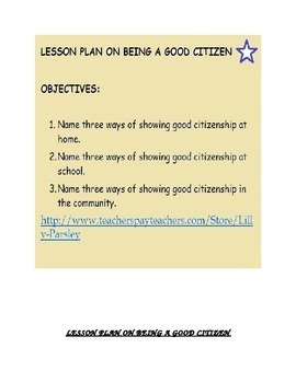 GOOD CITIZENSHIP LESSON PLAN