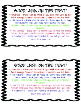 GOOD LUCK on the TEST- Bag Labels *FREEBIE*