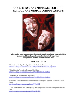 GOOD PLAYS AND MUSICALS FOR SCHOOL CLASSES