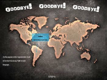 GOODBYE! in 12 languages: Fun, Interactive 40-slide PPT with map handout