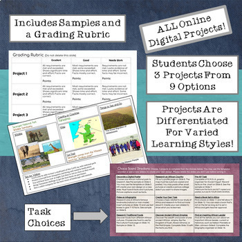 GOOGLE CLASSROOM Activities: Task Choice Boards for Study of Africa