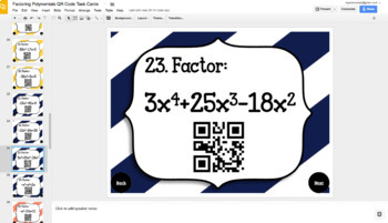 GOOGLE DRIVE 40 Factoring Polynomials QR Code Task Cards w/ Coloring Activity