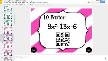 GOOGLE DRIVE 40 Factoring Polynomials QR Code Task Cards w/ Coloring Activity