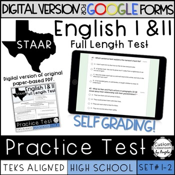 GOOGLE FORMS English I & II STAAR Reading Practice Test