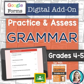 GOOGLE FORMS Grammar Assessments and Practice Worksheets Grades 4-5