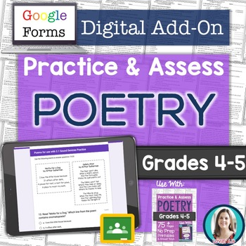 GOOGLE FORMS Poetry Assessments and Practice Worksheets Grades 4-5