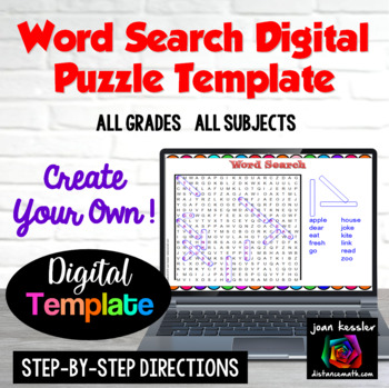Interactive Word Search Puzzle Template with GOOGLE Slides™