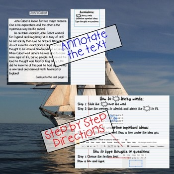 GOOGLE John Cabot Passage: Text Dependent Questions and Response
