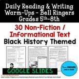 GOOGLE READER: 30 Reading Warm-Ups - Black History - Grades 5th-8th