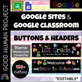 Google Sites-Classroom Buttons & Headers: Watercolor Creatures Theme | Editable