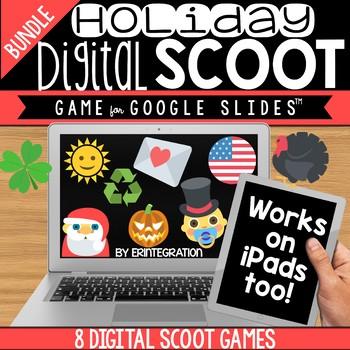 GOOGLE SLIDES DIGITAL SCOOT HOLIDAY BUNDLE:  7 Holiday Digital Scoot Games