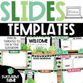 GOOGLE Slides Templates - Watercolor Succulent Theme Dista