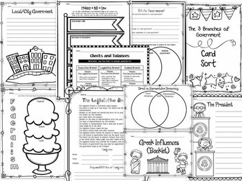 GOVERNMENT BUNDLE - Articles of Confederation, Constitution, Three Branches