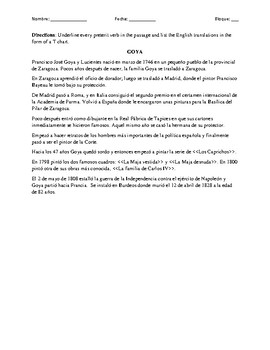 GOYA: Spanish Reading Comprehension (3rd person singular preterit verbs)