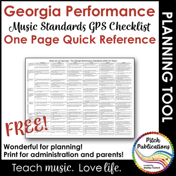 GPS Georgia Music Standards K-5: One Page Handy Reference