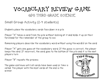 GPS Science Vocabulary Review Game