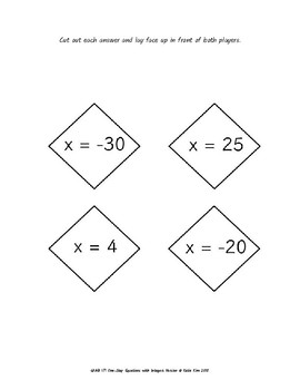 GRAB IT!  A One-Step Equations with Integers Game