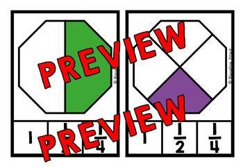 GRADE 1 FRACTIONS CLIP CARDS (FRACTIONS FOR 1ST GRADE) BEGINNER FRACTIONS