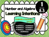 GRADE 1  Math - Number & Algebra Learning INTENTIONS & Success Criteria! (AC)