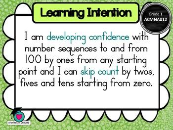 GRADE 1  Math - Number & Algebra Learning INTENTIONS & Success Criteria! (AC)