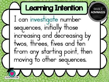 GRADE 2  Math - Number & Algebra Learning INTENTIONS & Success Criteria! (AC)