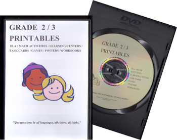 GRADE 2/3 PRINTABLE RESOURCES CD (ELA,MATH,TIER 2,GENRE,WRITING,TASK CARDS,...)