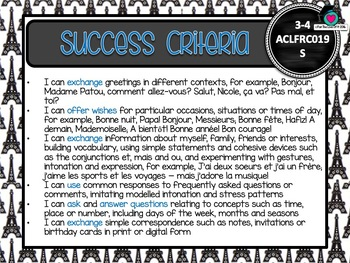 GRADE 3-4 Australian FRENCH Editable Learning Goals & Success Criteria Posters